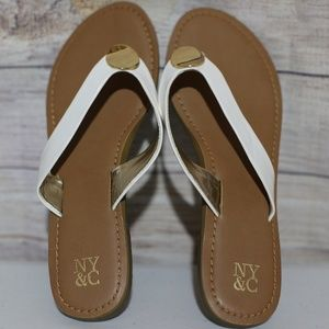 New York and Company White and Gold Sandal